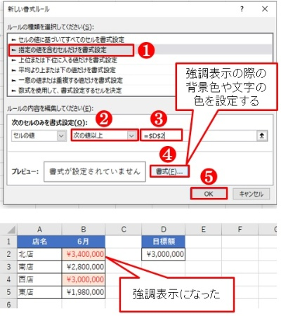 300万円以上を強調表示にした。B4の「¥3,000,000」も強調表示になっているのが分かる。「以上」になるだけで設定が少々面倒になる