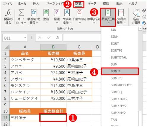 A11に指定した販売員が販売した合計額をB11に算出する。B11を選んだら、「数式」タブの「数学/三角」ボタンから「SUMIF」を選ぶ