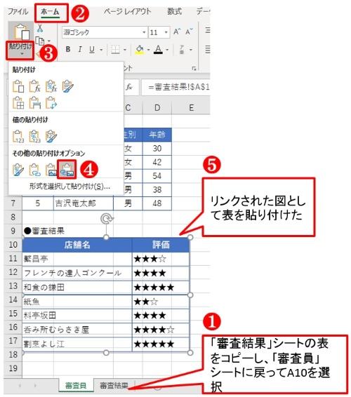 審査結果の表をコピーして、「審査員」シートに「リンクされた図」として貼り付ける