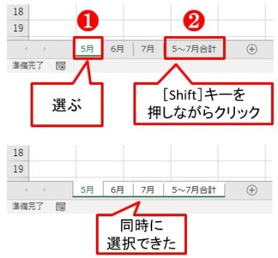 「5月」のシートタブを選び、[Shift]キーを押しながら「5~7月合計」のシートタブをクリックする。これで4シートを同時に選択できた