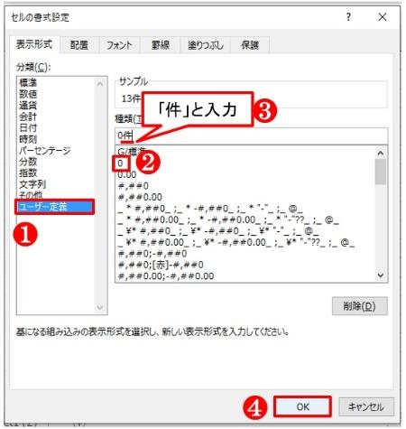「セルの書式設定」で「ユーザー定義」を選び、「0件」とする。カンマを入れたいときは「#,##0」を選び末尾に「件」を入力する