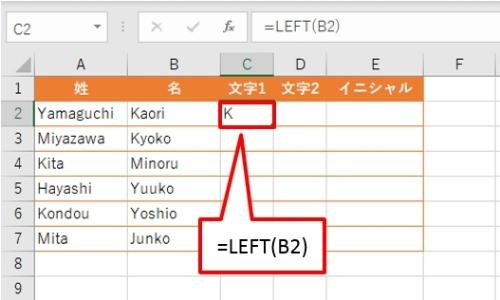 LEFT関数を使って文字を取り出した。引数「文字数」は省略したので、左端から1文字だけが返る