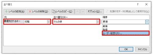 「優先されるキー」は「役職」、「並べ替えのキー」は「セルの値」、「順序」は「ユーザー設定リスト」に設定する