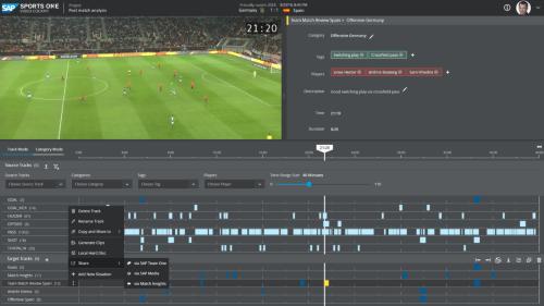 ビデオコクピットの画面例。左上に試合映像を表示。その下に「ゴール」「ゴールキック」「オフサイド」「パス」「シュート」などタグ付けされたデータが、試合に応じた時間軸上にプロットされ、白い四角をクリックすればそのシーンの映像をすぐに見れる(図:SAP)