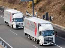 図1 後続車無人を想定したトラックの隊列走行は、新東名高速道路の浜松SAから遠州森町PA間の上下線で2019年1月22日~2月28日に実施(出所:豊田通商)