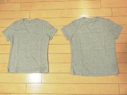 Tシャツの比較。推測データ(左)と実測データ(右)