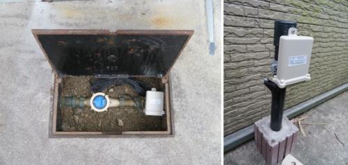Sigfoxの無線発信機を取り付けた水道メーター