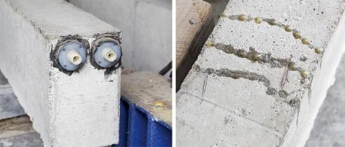 〔写真2〕エポキシ樹脂でひび割れ修復