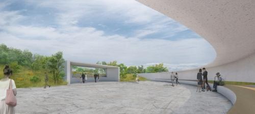 円弧状の壁の内側にある合葬墓と参拝所。左手に見える山裾の地下に、故人が眠る埋蔵室を設ける(資料:キノアーキテクツ)