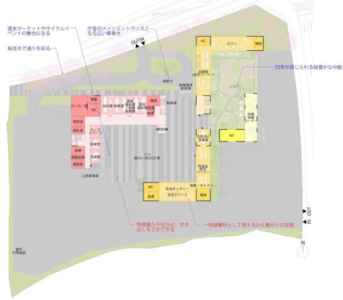 配置図兼1階平面図。左手のL字形をした庁舎は、必要とされる空間の大小に応じてゾーニングした。執務室や大会議室などの大空間は東西のウイングに置き、将来的な組織改編にも柔軟に対応する。小会議室や町長室などは南北の細長いウイングに配置し、採光や通風に配慮した(資料:千葉学建築計画事務所)