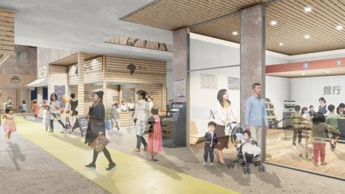 2階の子ども向け職業体験エデュテインメントパーク。インドアパーク、保育園、レストランと複合させ、市民とスポンサー、行政、小・中・高・大学が共創で運営していくことを提案した(資料:ジオ-グラフィック・デザイン・ラボ・泉設計室・構造計画研究所JV)