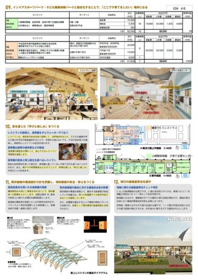 設計提案書の一部。単体用途では、収支が厳しいレストランと保育園について、小規模保育園の昼食をレストランが提供することで、レストランの平日の安定収入を確保する仕組みを提案した(資料:ジオ-グラフィック・デザイン・ラボ・泉設計室・構造計画研究所JV)