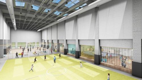 1階のフットサル・バスケットパーク。「インドアパークは屋内の公園のような場所をイメージしており、県民一人ひとりが、ここがおのおの私たちの場所だと思えるような空間デザインを目指している」(前田氏)(資料:ジオ-グラフィック・デザイン・ラボ・泉設計室・構造計画研究所JV)