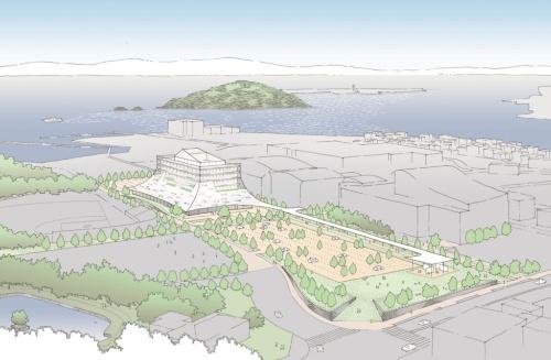 裾広がりのシルエットを持つ大村市新庁舎のイメージ。玖島(くしま)城址公園や山並みと呼応している(資料:槇総合計画事務所)