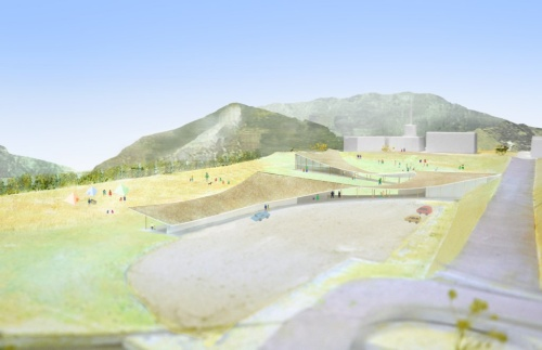 最優秀賞のメインパース。阿蘇の雄大なランドスケープに呼応する、大地と空につながる震災ミュージアムを提案した。右手に見える震災遺構の東海大学1号館校舎まで、スロープで自然にアクセスできる(資料:大西麻貴+百田有希/o+h・産紘設計JV)