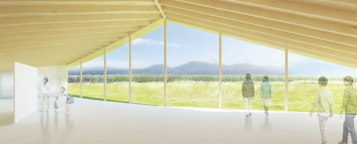 水平に連なる外輪山を望む企画展示室と交流ラウンジ(資料:大西麻貴+百田有希/o+h・産紘設計JV)