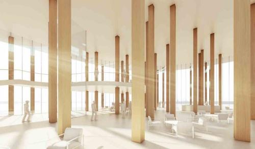天井高を十分に確保した、全面ガラス張りの待合スペース。大分の原風景ともいえるスギ林のような空間は、地域の人たちにとっては、街のリビングのような場所となり、県外・海外からの来訪者に対しては、地域材の魅力を伝え、大分県ならではの空間を演出する(資料:藤本壮介建築設計事務所・松井設計JV)