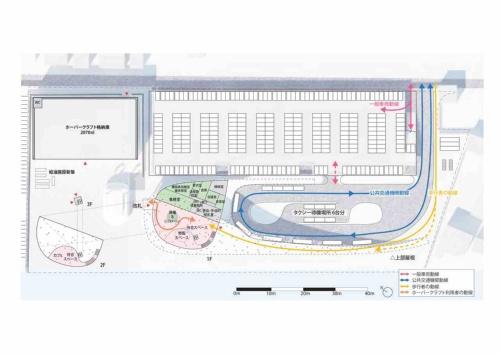 大分市側ターミナル配置図兼1階平面図。ホーバークラフト乗降場からバス・タクシー乗り場、駐車場までを1枚の大屋根でつなぐことで、動線を明確にし、スムーズな乗り換えを実現する。屋根下のオープンスペースは、ホーバークラフト利用者だけでなく、地域の人がふらっと立ち寄り、滞在するなど、日常的な利用も想定している(資料:藤本壮介建築設計事務所・松井設計JV)