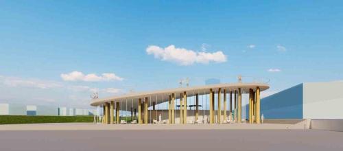 空港側ターミナルの外観イメージ。上屋は平屋建て、延べ面積450m2。緩やかに上昇する大屋根スロープは展望機能を兼ねており、大分空港の飛行機の発着を望むことができる(資料:藤本壮介建築設計事務所・松井設計JV)