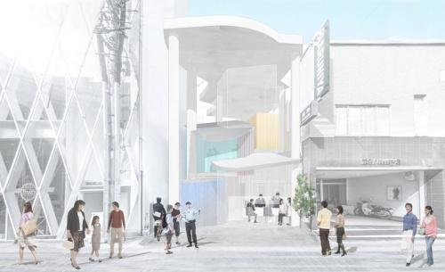 通りからの全景。「大きな屋根の下の自由な空間」と「力強い柱」が特徴だ(資料:南俊允建築設計事務所)