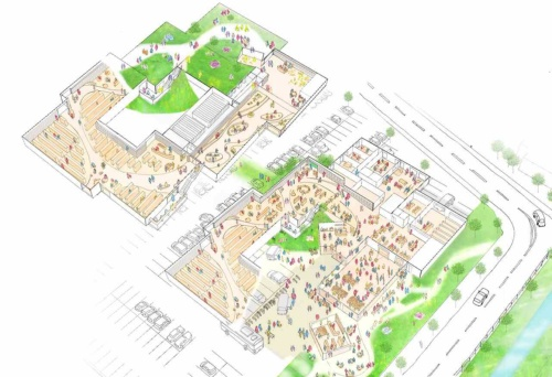 全体イメージ。緩やかに連続する庭のような、本とにぎわいの拠点をつくる。書架ゾーンや機械設備を持ち上げることで本や貴重資料を守り、災害発生時にも機能維持が可能な拠点施設を目指す(資料:平田晃久建築設計事務所)