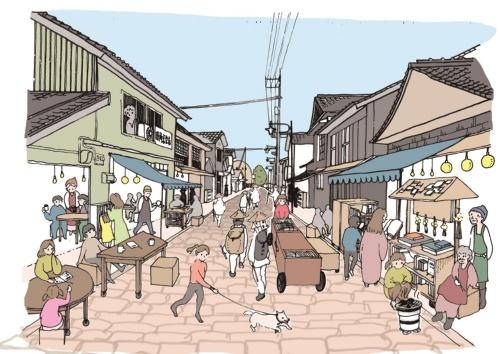 四万十町文化的施設への入り口となる道。提案書では、「図書館通り」と名付けた。昔からの店と新しいチャレンジとが共存する(資料:スターパイロッツ+建築設計群無垢JV)