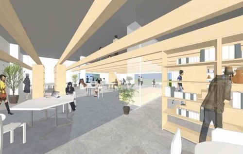 コワーキングスペース(図右手前)から 「みち」を介してコミュニティースペース(図中央奥)を見る。新たに設ける木製の梁(はり)「ブドウ棚」が施設全体にわたって架け渡され、スペースに可変性と統一性をもたらす(資料:塩塚隆生アトリエ)
