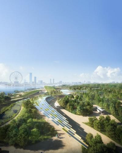 「Founders' Memorial」を見下ろしたイメージ。蛇行する複数の小道で構成している。対岸左手に見えるのはアジア最大の観覧車「シンガポール・フライヤー」で高さは165m(資料:Kengo Kuma and Associates, K2LD Architects)