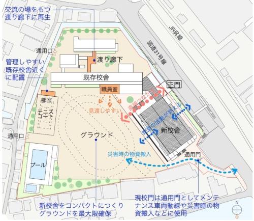地域に開かれた新校舎の配置イメージ(資料:香山壽夫建築研究所・あい設計JV )