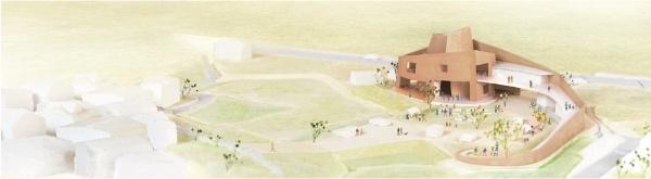 外観イメージ。らせん壁に守られた「丘のような地域防災センター」を提案した(資料:大西麻貴+百田有希/o+h)