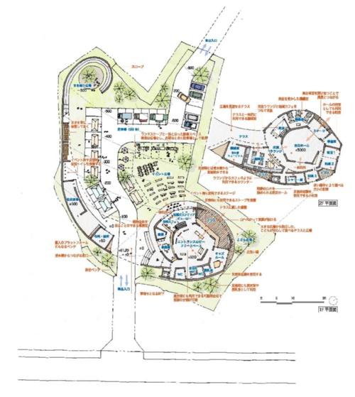 平面計画。災害時の避難者の居住スペースと支援者の活動スペースを分け、スロープで緩やかにつなげた。両者が出会う2階のテラスには、調理室が面し、食を通した交流の場所となる(資料:大西麻貴+百田有希/o+h)