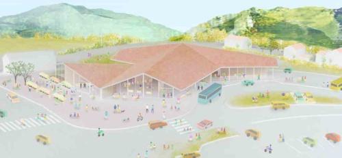 外観イメージ。屋根の仕上げは石州瓦とし、邑南町を象徴する美しい家並みと連続する。町の人々の記憶に刻まれる、懐かしくも新しい町のシンボルを目指す(資料:大西麻貴+百田有希/o+h)