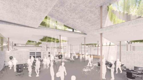 光がふんだんに入る半外部空間のような地下の動画作成スタジオ。ハイサイド窓によって重力換気を行い、空調のランニングコストを低減。自然採光によって、照明エネルギーの削減を図る(資料:小堀哲夫建築設計事務所)