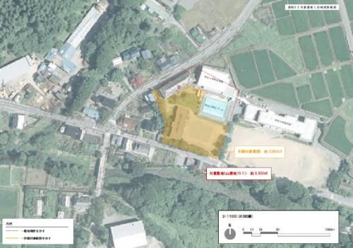 対象敷地と計画対象範囲(資料:岩手県住田町)