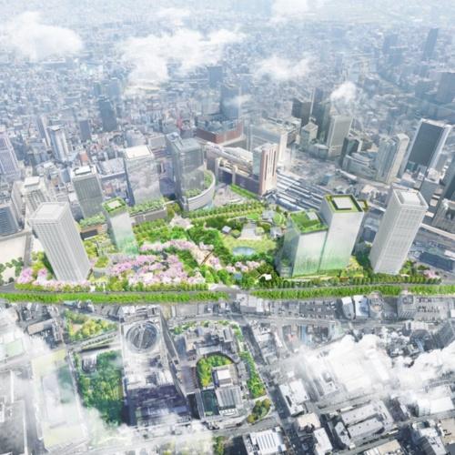三菱地所を代表とするグループが、「うめきた」2期地区の再開発事業者に決定した。画像は、西側上空から見た、うめきた2期地区の全景イメージ(資料:三菱地所)