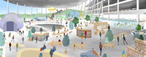 庁舎棟8階とブリッジで接続する広場棟のフロアは、図書館や未来館(仮称)からなる「創造の『ニハ』」。プラネタリウムやホール、スタジオを中心に、児童書や一般書エリアを備え、利用者が自らのアイデアを実装したり、試したりすることができる活動的な場所として構想している(資料:石本建築事務所・石上純也建築設計事務所JV)