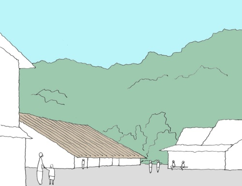 外観イメージ。周囲の物産館やそば屋、山並みや川と調和するように端正な切妻屋根とした。「みんなと一緒に考え、育てるプロセス」を重視し、施設完成後を見据えたソフトとハードの一体化を目指す(資料:海法圭建築設計事務所)