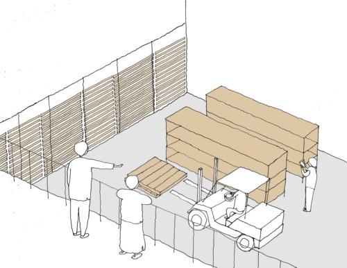 見学ブリッジから米を貯蔵する「雪中貯蔵庫」を見る。見学者用に専用のブリッジを計画し、食材を置くフロアとレベル差を設けることで衛生に配慮する(資料:海法圭建築設計事務所)