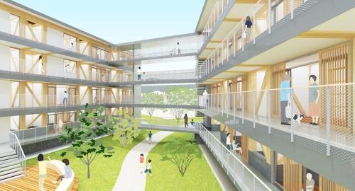 メインパース。周辺への圧迫感を抑えるように2棟に分け、建物を敷地中央にコンパクトにまとめて、敷地内に分節されたオープンスペースをつくる。中庭に緩やかな掘り込みのスロープを設け、東西通り抜けの通路とする(資料:内野設計・島津臣志建築設計事務所・カワグチテイ建築計画JV)