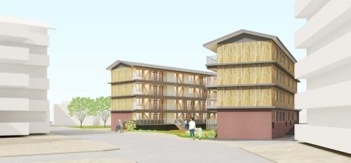 北東側イメージ。切妻屋根で木質化された外観とし、時の変化とともに木造低層住宅群になじみながら、柔らかい風景を創出する(資料:内野設計・島津臣志建築設計事務所・カワグチテイ建築計画JV)