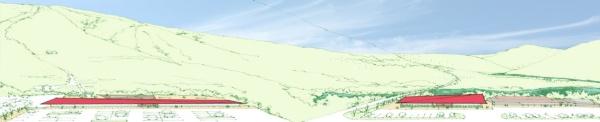 全体イメージ。左手が御嶽山へのゲート「山エリア」、右手が山麓の「里エリア」(資料:yHa architects)