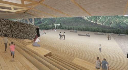 山エリアの大階段。御嶽山を眺めながら休憩ができる(資料:yHa architects)