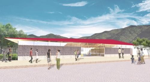 王滝川と木曽駒ケ岳へのビューをつくる里エリアの外観パース。北側にエントランス・飲食スペース・トイレ・管理共用ゾーン、南側に天井の高い展示ゾーンを集約する(資料:yHa architects)