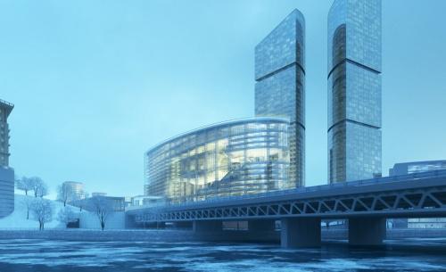 中央に見える緩く弧を描いた建物が「ズベルバンク・シティー」。手前にモスクワ川が流れる。間口最大30mの細長い敷地となっている(資料:日建設計)