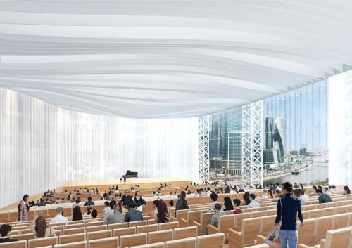 1500人収容のホール。複数層のカーテンで光を調整できる。席はすべて機械式収納型で、バンケットなどにも使える(資料:日建設計)