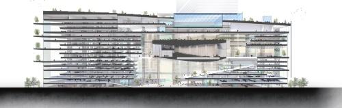 長手方向の断面パース。大きい室内空間を実現するため、ホールを空中に浮かした。8階から11階までがホール。その下は吹き抜け空間。吹き抜けを挟んで左手は従業員のためのスペース、右手はビジターセンターなど公共のエリア(資料:日建設計)