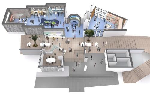 「森のミュージアム」のゾーニングイメージ。左上が知識の習得・学習をアシストする「ジオミュージアム」。右上はワークショップ体験や講演会などに利用可能な「ジオファクトリー」、下は島内の散策をアシストする「コミュニケーションホール」。展示設計はSPフォーラム(資料:アーキヴィジョン広谷スタジオ)