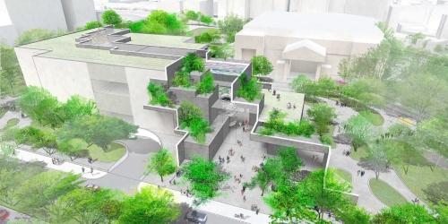 メインストリートからの見下ろし。道に対して大きく開いた部分がエントランス。街の文化ゾーンをつなぐグリーンベルトは反対側の道路へと続いている(資料:平田晃久建築設計事務所)