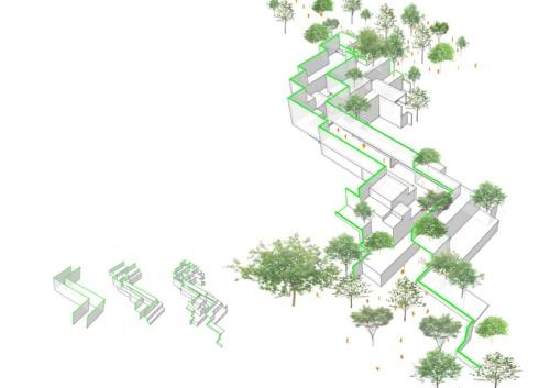 新竹市図書館のコンセプト図。2枚の壁を立てて雁行(がんこう)させ、セットバックなどをさせることで、「知の峡谷」が生まれる(資料:平田晃久建築設計事務所)
