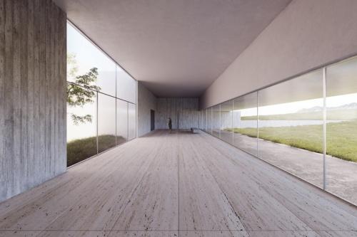 広く取ったエントランスホール。同時受け入れの際、ゆとりのある空間、動線を提供する。雄大な風景と白樺(しらかば)を植えた光庭に囲まれる(資料:藤本壮介建築設計事務所・アイエイ研究所JV)